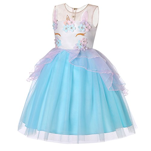 Molliya Unicorn Costume Dress Girl Princess Pageant Party Dresses Flower Evening Gowns Tutu Fancy Dress(Blue, 4T) ()