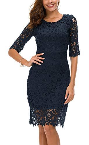 Urban CoCo Women's Lace Sheath Dress Slim Fit Midi Dress (L, Navy Blue)