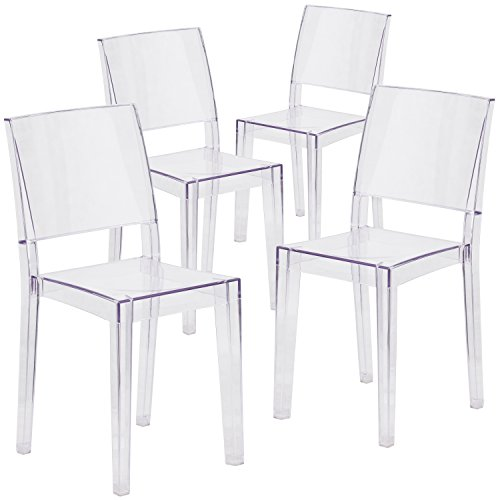 Flash Furniture 4 Pk. Phantom Series Transparent Stacking Side Chair