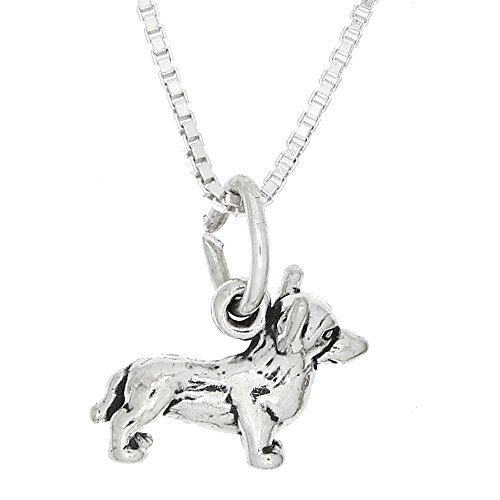 Sterling Silver Tiny Small Welsh Corgi Dog Charm Necklace (18 Inches)