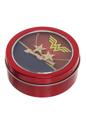 Bioworld Wonder Woman Necklace & Earrings Gift Tin,Gold,Standard ()