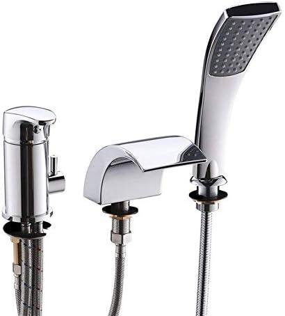 YKJ-YKJ バスタブ蛇口ハッピーシャワー付きのシャワーヘッドアウトバスバスルームアクセサリー浴室のシャワーヘッド3の穴の滝混合水栓浴室プル 蛇口