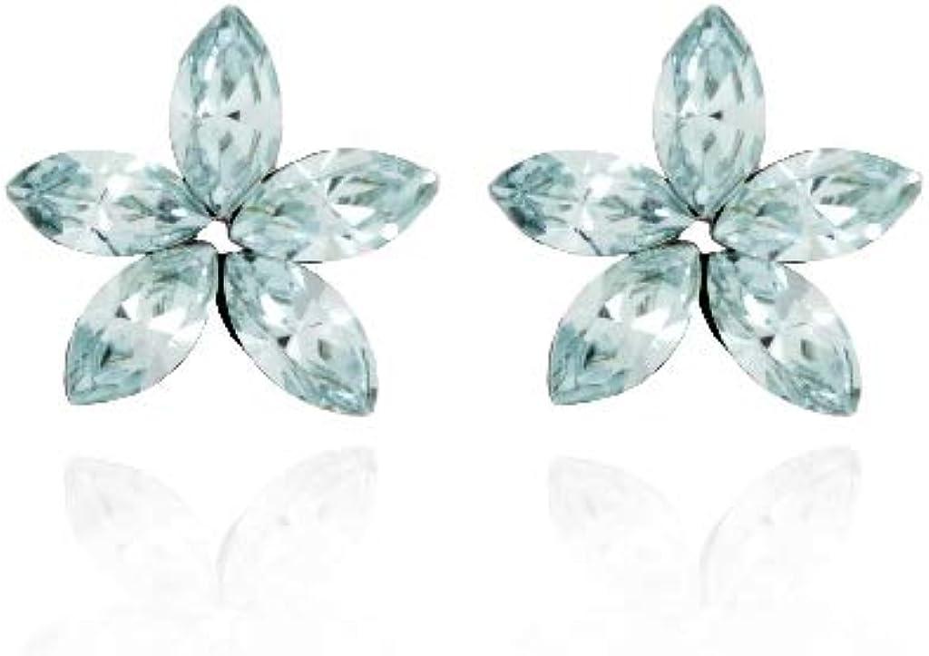 Pendientes Mujer Victoria Cruz Plata Cristal Swarovski Azul Flor Tamaño 12 mm