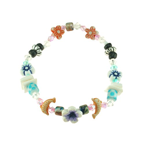 - Dolphin & Flower Beaded Stretch Elastic Bracelet with Puka Clam Chip Shells, Glass & Ceramic Beads