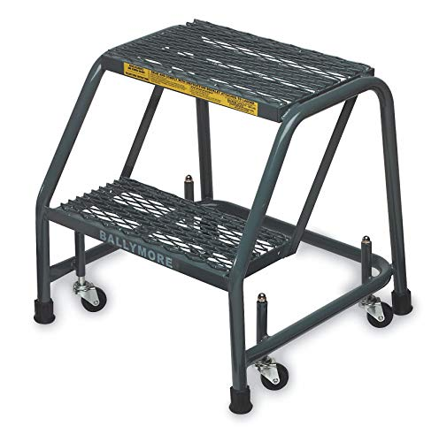 Ballymore 218XSU Steel Standard Rolling Ladder with Spring Loaded Casters Without Handrails, Expanded Metal Tread, Assembled, OSHA/ANSI Standard, 2 Steps, 16