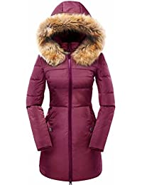Valuker Womens Down Coat with Fur Hood with 90% Down Parka Puffer Jacket