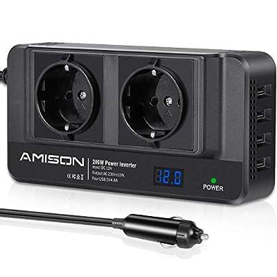 200W KFZ Wechselrichter, Amison Spannungswandler 12V auf 230V mit Smart echtzeitdarstellung LCD, 2 Steckdosen und 4 USB…