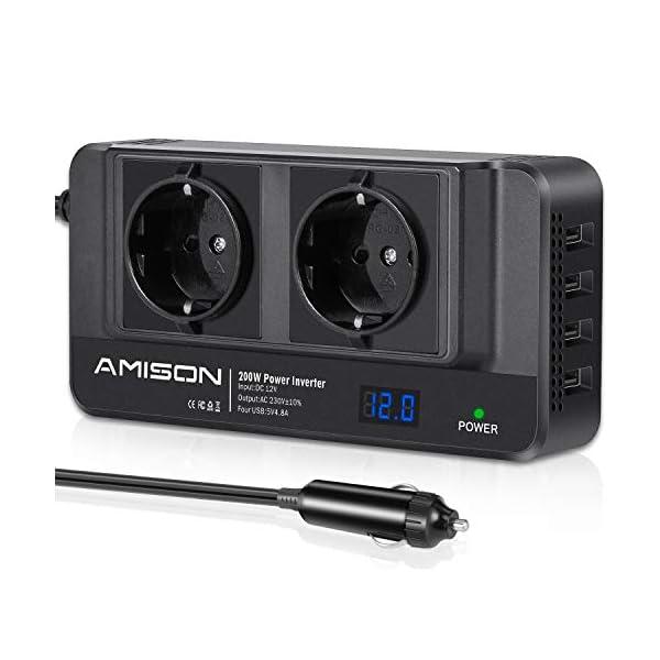41WU8 fuj6L 200W KFZ Wechselrichter, Amison Spannungswandler 12V auf 230V mit Smart echtzeitdarstellung LCD, 2 Steckdosen und 4 USB…