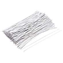 uxcell Metallic Twist Ties 150mmx1.8mm Plastic White Cable Cord Ties 1000pcs