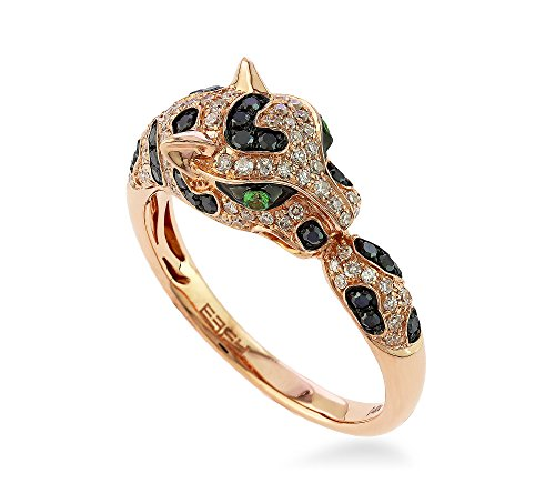 Effy Signature Collection Panther Diamond and Tsavorite Ring in 14K Rose Gold