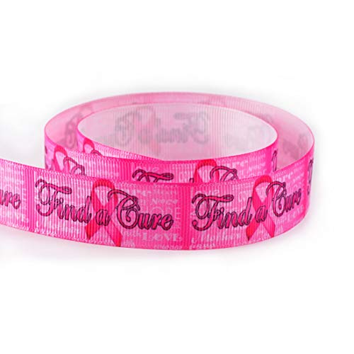 Find A Cure for Cancer Breast Cancer Awareness Grosgrain Ribbon 7/8