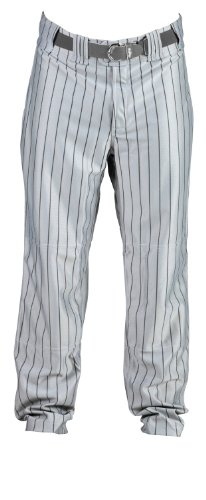 Rawlings Youth Relaxed Fit YBP95MR Pinstriped Baseball Pant, Dodger Grey with Black Pinstripes, Youth Small