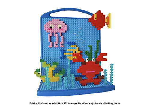 BuildUP Wall Hanging Display Board Baseplate Compatible with Lego and Mega Bloks | Pink or Blue Decorative Shelf for Kids' Building Block Art and Masterpieces | Boys Girls Party and Room Decoration
