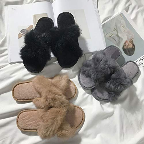 Zoucy Sandales Rabbit Slippers Chaussures Flats Diapositives Femmes Band Tongs Fuzzy Cross wHZg4wxq