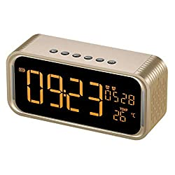 Fly Double Alarm Clock Audio LED Display Clock Month Real-time Portable Mirror Bluetooth Speaker Speaker (Color : Gold)