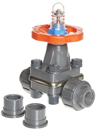 "Hayward DAB1007UFF DAB Series PVC Diaphragm Valve, FPM Diaphragm, FPM Seals, 3/4"" Socket and Threaded Connections"