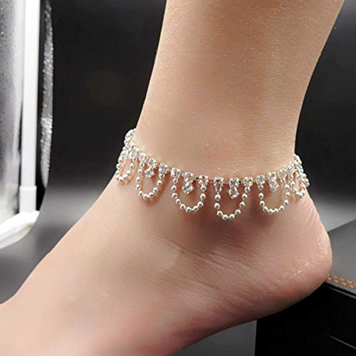 (Layered Alloy Anklet Crystal Rhinestone Ornaments Luxury Foot Chain Accessories )