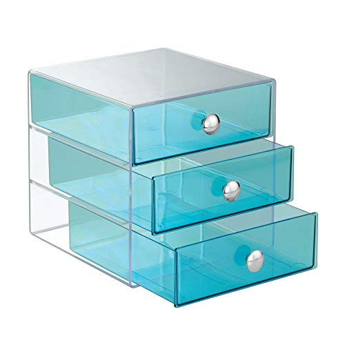 InterDesign 3 Drawer Storage Organizer for Cosmetics, Makeup, Beauty Products and Office Supplies, - Cubbies Desktop