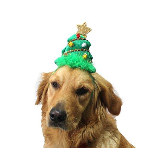 BBEART Pet Hair Band Headdress,Christmas Tree Deer Horn Hairpin New Year Children Gifts Christmas Carnival Halloween Fancy Dress Party Decor (S, Christmas Tree Headdress)