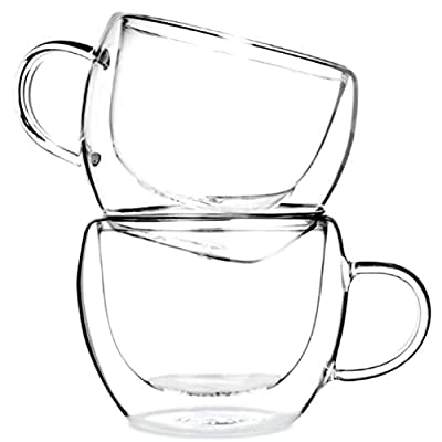 Tealyra - UNIVERSE 8-ounce - Set of 4 - Double Wall Glasses With Handle
