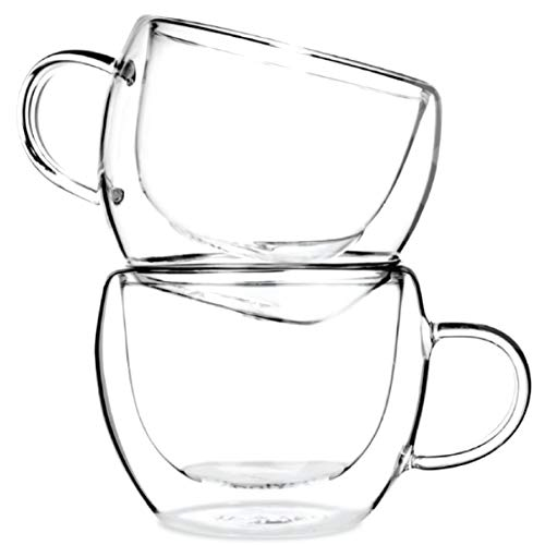 Tealyra - UNIVERSE 8-ounce - Set of 2 - Double Wall Glasses With Handle - Espresso Coffee - Tea - Cappuccino - Clear Cups - Heatproof Insulating - Keeps Beverages Hot - 230ml (Wall Ceramic Handle)