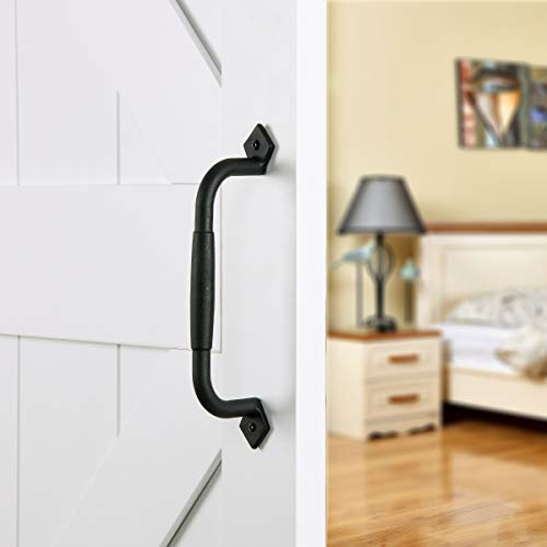 SMARTSTANDARD 10 inch Black Barn Door Pull Handle for Gate Kitchen Furniture Cabinet Closet Drawer by SMARTSTANDARD
