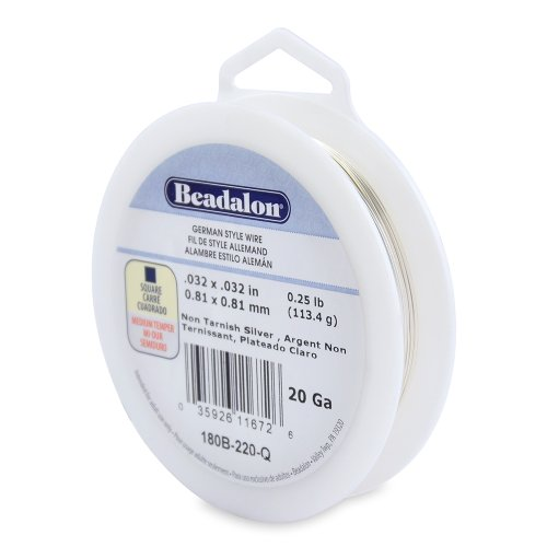Beadalon 20-Gauge Tarnish Resistant Silver Plate Square Wire, 1/4-Pound