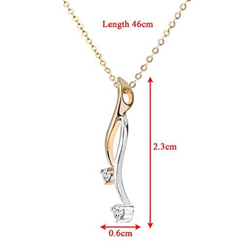 Revoni Bague en or jaune et blanc 9carats-Diamant Pendentif avec chaîne 46cm