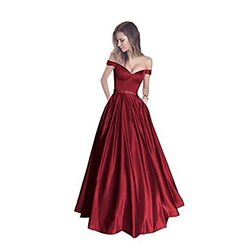Satin Long Burgundy Dress: Amazon.com