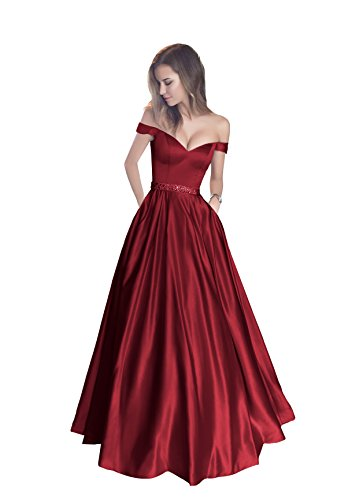 Harsuccting Off The Shoulder Beaded Satin Evening Prom Dress with Pocket Burgundy 4 Design Prom Gown Evening Dress
