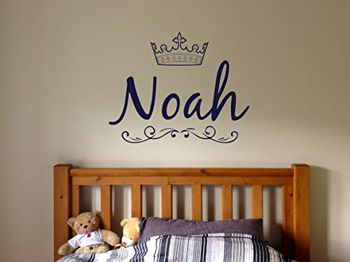 Vinyl Sticker Noah Name Boy Crown Prince King Font Type Kids Room Nursery Mural Decal Wall Art Decor EH726