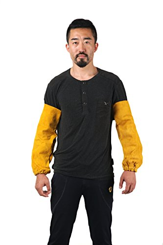 Joyutoy Welding Sleeves Leather Yellow 18'' Elastic Cuff Heat Resistant Protect Hand And Arm Welding Apparel For Welding Glass Transport And Processing by Joyutoy