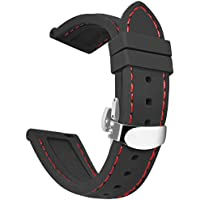OLLREAR Silicone Watch Strap Replacement Rubber Watch Band Steel Butterfly Deployant Clasp -8 Colors & 5 Sizes - 16/18/20/22/24mm (22mm, Black/Red)