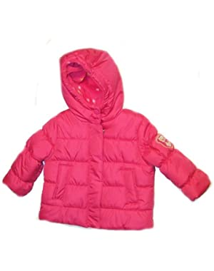 Baby Girls Kitty Puffer Jacket (12m, Pink)