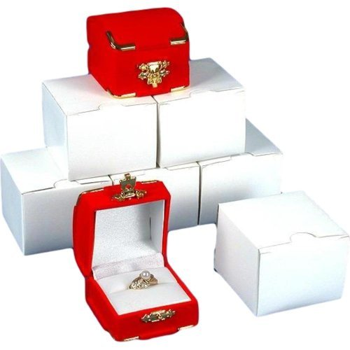 Ring Red Velvet (6 Red Flocked Ring Gift Boxes Jewelry Case Displays)