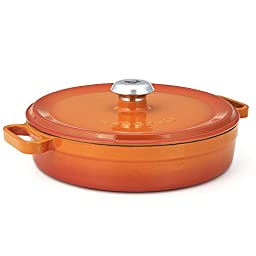 Essenso Chambery Cast Iron Braiser with Four-Layer Enamel Interior and Exterior, Orange, 3.5 Quart