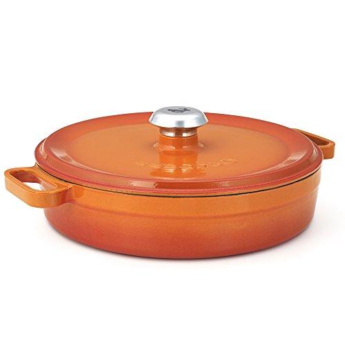 Low Casserole Pan - Essenso Enameled Cast Iron Braiser Casserole Shallow Dutch Oven Orange 3.5 qt
