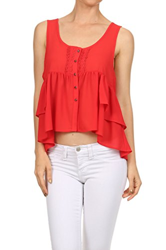 WHITE APPAREL Women's Solid Ruffle Button Down Tank - RED SMALL