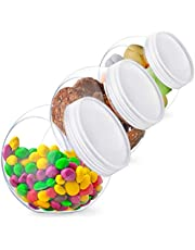 Candy Jar, Candy Jars with Lids, Cookie Jar for Kitchen Counter, Plastic Candy Jars for Candy Buffet and Party Table, Candy Buffet Containers, Cookie Jars with Lids Set, Candy Holder, Clear Plastic