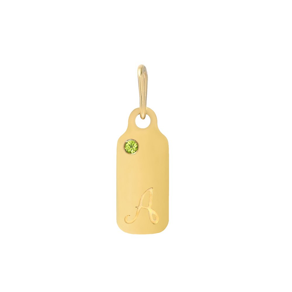 14k Gold Peridot August Birthstone Cursive Letter A Dog-tag Necklace