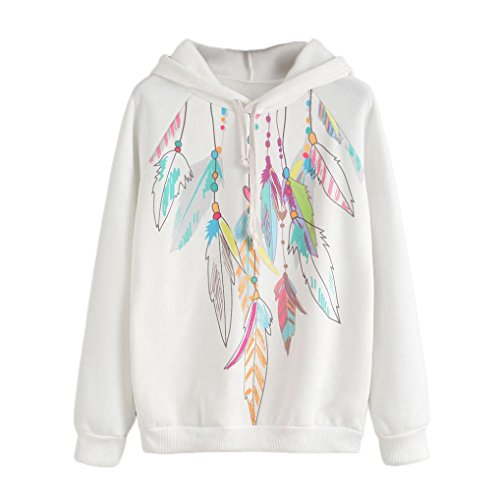 Hunputa Autumn Winter Womens Feather Printed Long Sleeve Hoodie Sweatshirt Hooded Pullover Tops Blouse (XXL) (Yarn Stripe Feather)