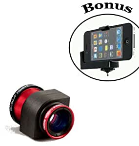 Olloclip 3-in-1 Fisheye, Macro, Wide Angle Lens Kit For the Apple iPhone 5 (Red) and a Bonus Universal Smartphone Tripod Mount Adapter works for iPhone 5 and for Most Smartphones