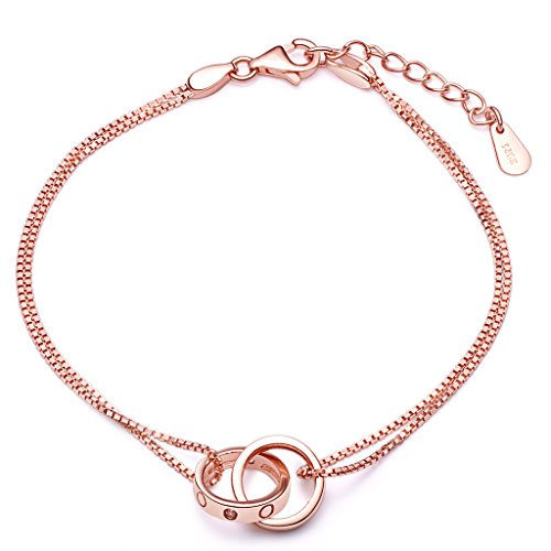 Interlocking Hoop Ring Circle Charm Women's 925 Sterling Silver Double Chain Bracelet Rose Gold