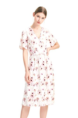 zhAjh Women's Brushed Jersey V Neck Flutter Sleeve Mid Calf Floral Print Dress with Faux Wrap Front (Soft (Jersey Print Wrap)