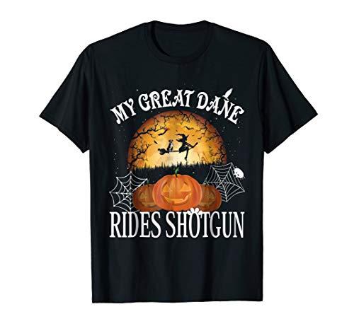 Great Dane Rides Shotgun Shirt Dog Halloween T-Shirt