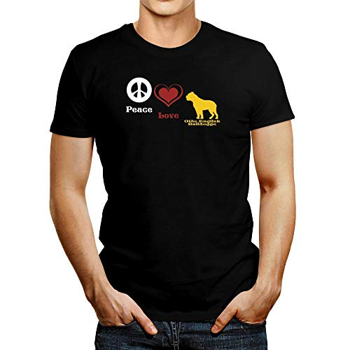 Idakoos Peace, Love, Olde English Bulldogge T-Shirt L Black