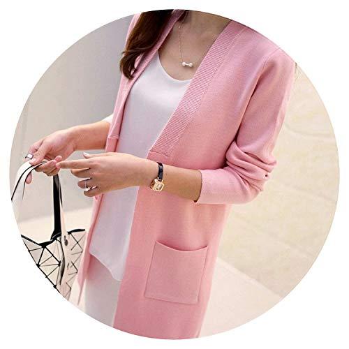 Summer-lavender Women Spring/Autumn Sweater Long Cardigan Korean Slim Pocket Loose Knit Sweater Outwear ()