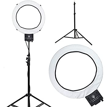 18 led video ring light with mirror 6ft stand tripod adjustable heavy duty mount. Black Bedroom Furniture Sets. Home Design Ideas