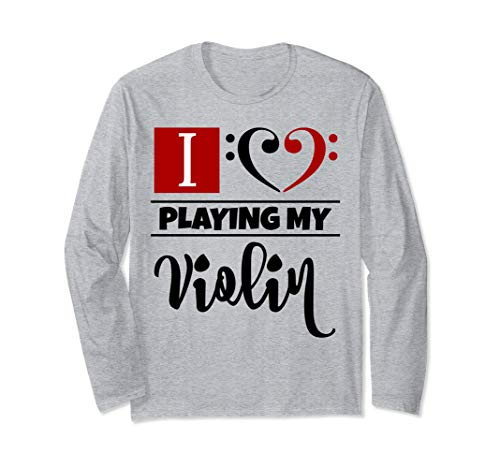 Double Black Red Bass Clef Heart I Love Playing My Violin Long-Sleeve T-Shirt