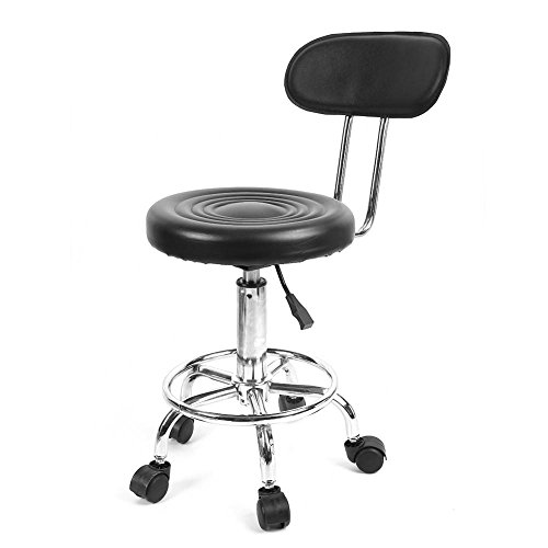 Tbest Swivel Medical Salon Stool Clinic Spa Massage Stool Rolling Manicure Chair with Back Support,Adjustable Work Swivel Cosmetic Stool with Casters for Hairdresser Styling Chair Beauty Tattoo Studio